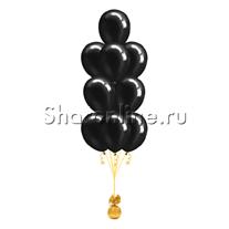 Фонтан из 10 черных шаров металлик