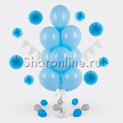 Фото №1: Фонтан из 10 голубых шаров