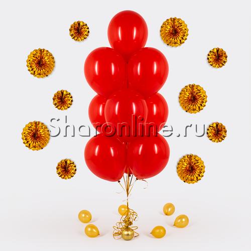 Фото №1: Фонтан из 10 красных шаров