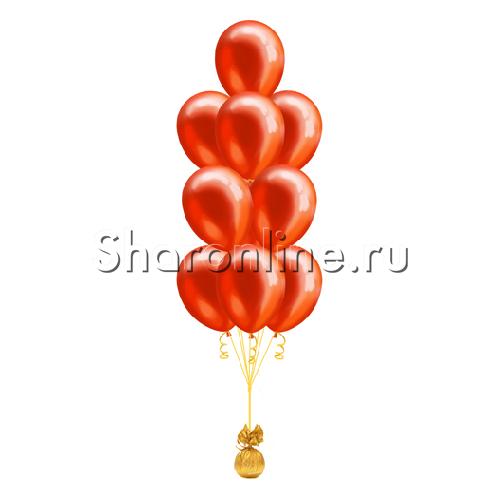 Фото №1: Фонтан из 10 красных шаров металлик