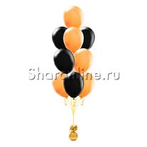 Фонтан из 10 оранжево-черных шаров