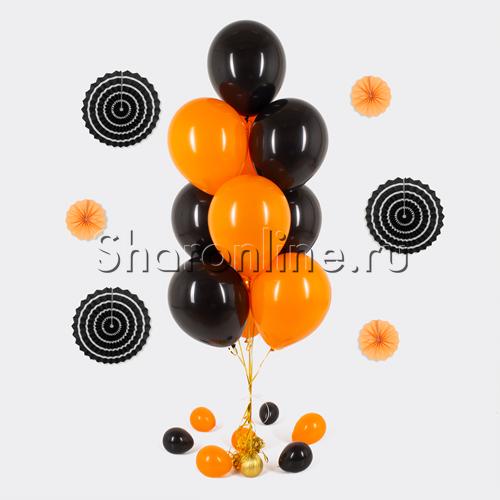 Фото №1: Фонтан из 10 оранжево-черных шаров