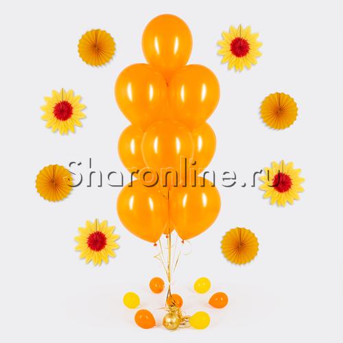 Фото №1: Фонтан из 10 оранжевых шаров металлик