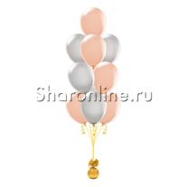 Фонтан из 10 персиково-серых шаров