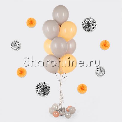 Фото №1: Фонтан из 10 персиково-серых шаров