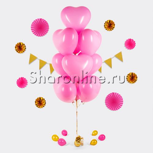 Фото №1: Фонтан из 10 розовых сердец премиум 41 см