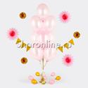 Фото №1: Фонтан из 10 розовых шаров металлик