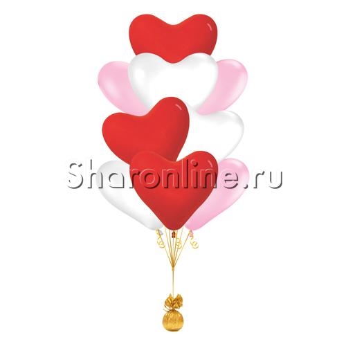 Фото №2: Фонтан из 10 сердец ассорти премиум 41 см