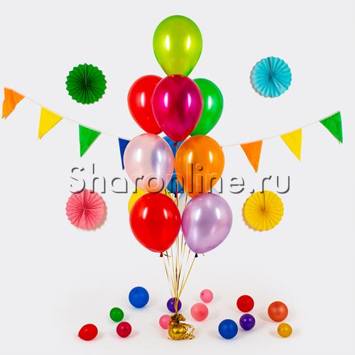 Фото №1: Фонтан из 10 шаров ассорти металлик