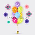 Фото №1: Фонтан из 10 шаров ассорти в горошек