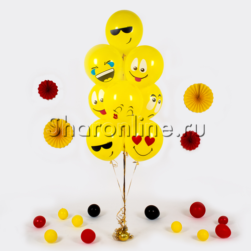 Фото №1: Фонтан из 10 шаров эмодзи