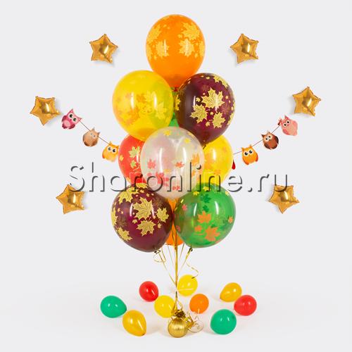 Фото №1: Фонтан из 10 шаров кленовые листья