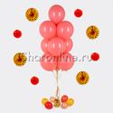 Фото №1: Фонтан из 10 шаров кораллового цвета