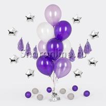 Фонтан из 10 шаров лиловые мечты