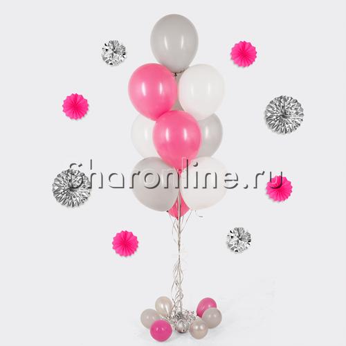 Фото №1: Фонтан из 10 шаров малиновый шик