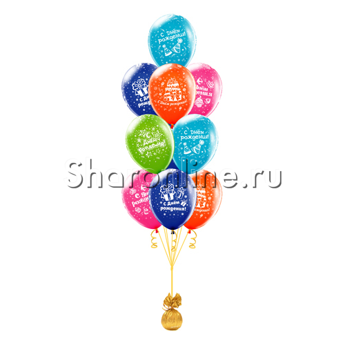 Фото №2: Фонтан из 10 шаров с днем рождения