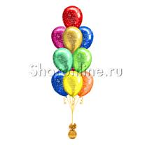 Фонтан из 10 шаров с днем рождения премиум