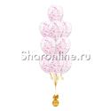 Фото №1: Фонтан из 10 шаров с голографическим малиновым конфетти