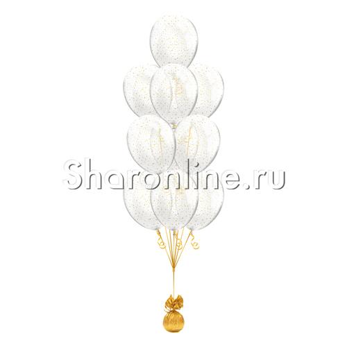 Фото №1: Фонтан из 10 шаров с конфетти золотые звезды