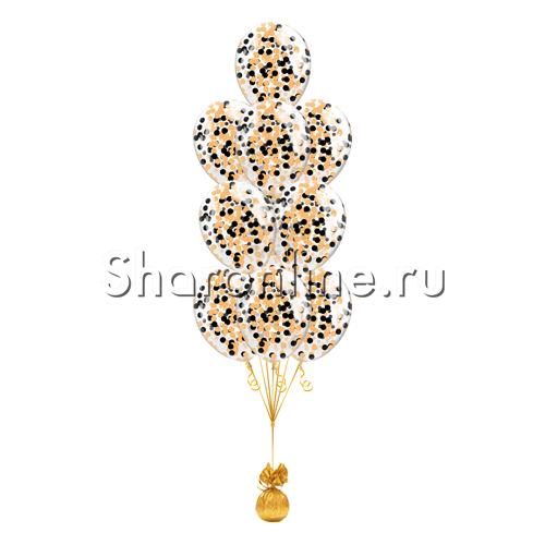 Фото №1: Фонтан из 10 шаров с круглым черно-оранжевым конфетти