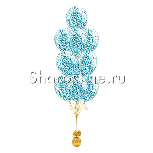 Фото №1: Фонтан из 10 шаров с круглым голубым конфетти