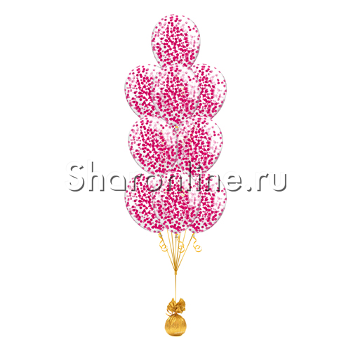 Фото №1: Фонтан из 10 шаров с круглым малиновым конфетти