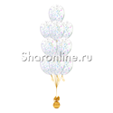 Фото №1: Фонтан из 10 шаров с круглым перламутровым конфетти