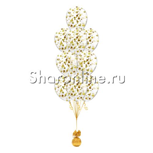 Фото №2: Фонтан из 10 шаров с круглым золотым конфетти