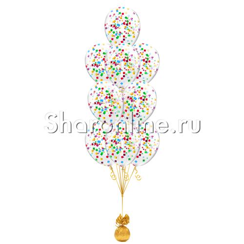 Фото №1: Фонтан из 10 шаров с квадратным разноцветным конфетти