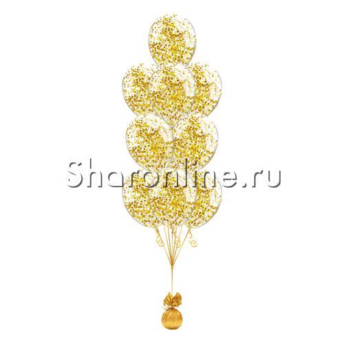 Фото №1: Фонтан из 10 шаров с квадратным золотым конфетти