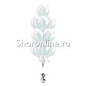 Фото №1: Фонтан из 10 шаров с серебряным конфетти в виде полосок
