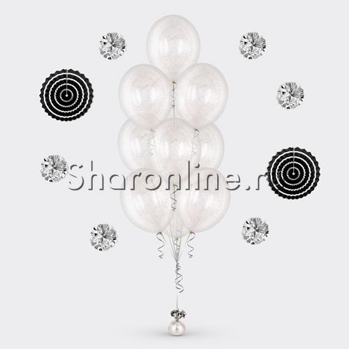 Фото №2: Фонтан из 10 шаров с серебряным конфетти в виде полосок
