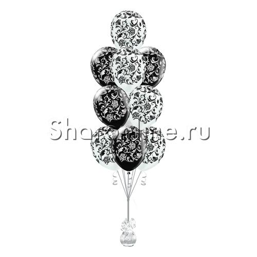 Фото №1: Фонтан из 10 шаров с узорами дамаск