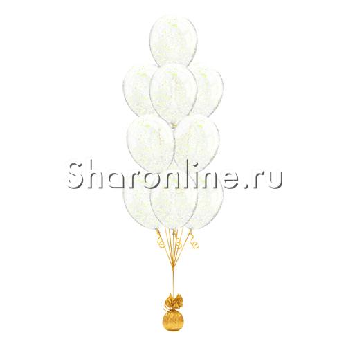 Фото №1: Фонтан из 10 шаров с желтым голографическим конфетти в виде хлопьев