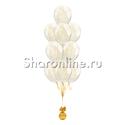 Фото №1: Фонтан из 10 шаров с золотым конфетти в виде хлопьев
