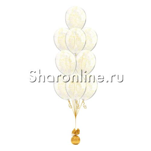 Фото №1: Фонтан из 10 шаров с золотым конфетти в виде полосок