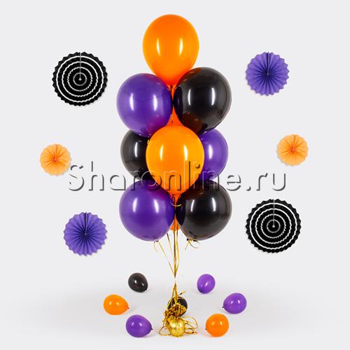 Фото №1: Фонтан из 10 шаров на яркий Хэллоуин