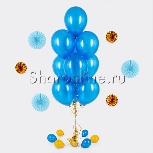 Фото №1: Фонтан из 10 синих шаров металлик