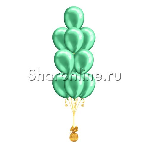 Фото №1: Фонтан из 10 зеленых шаров металлик