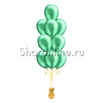 Фонтан из 10 зеленых шаров металлик