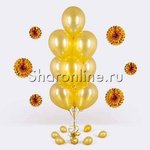 Фото №1: Фонтан из 10 золотых шаров