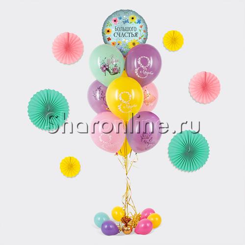 """Фото №1: Фонтан из шаров """"8 Марта"""" с цветком"""