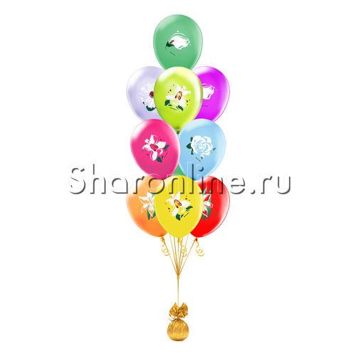 """Фото №1: Фонтан из шаров """"Цветы"""""""