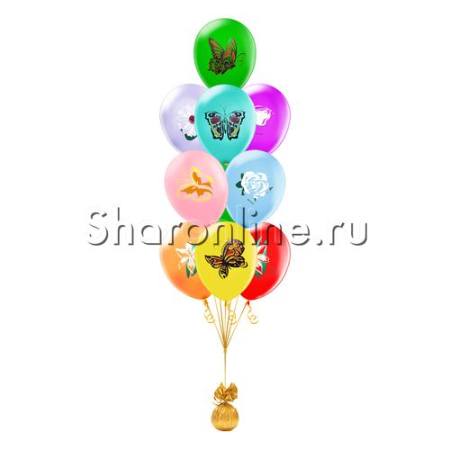 """Фото №1: Фонтан из шаров """"Цветы и Бабочки"""""""