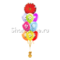 """Фото №1: Фонтан из шаров """"Цветы"""" с герберой"""