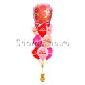 """Фото №1: Фонтан из шаров """"Комплименты для неё"""" с букетом роз"""