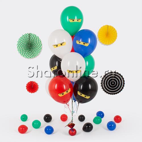 """Фото №1: Фонтан из шаров """"Лего Ниндзяго"""""""