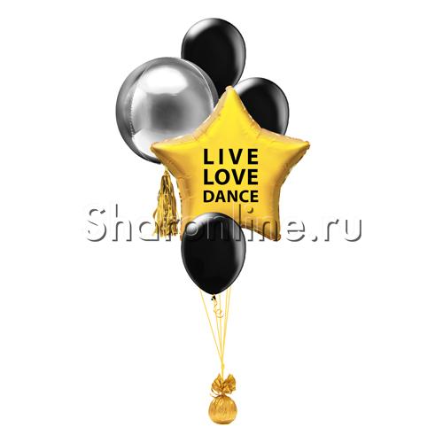 "Фото №2: Фонтан из шаров ""LIVE, LOVE, DANCE"""