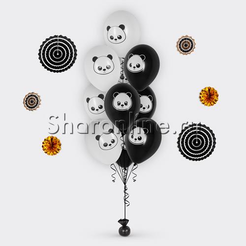 """Фото №1: Фонтан из шаров """"Панда"""""""