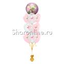 """Фото №1: Фонтан из шаров """"Розовый Фламинго"""""""